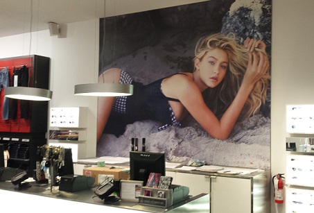 Hanging pictures, graphics in stores